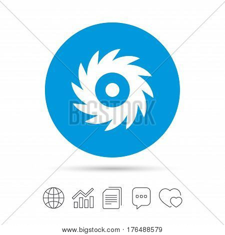 Saw circular wheel sign icon. Cutting blade symbol. Copy files, chat speech bubble and chart web icons. Vector