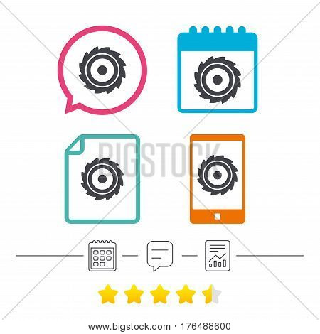 Saw circular wheel sign icon. Cutting blade symbol. Calendar, chat speech bubble and report linear icons. Star vote ranking. Vector