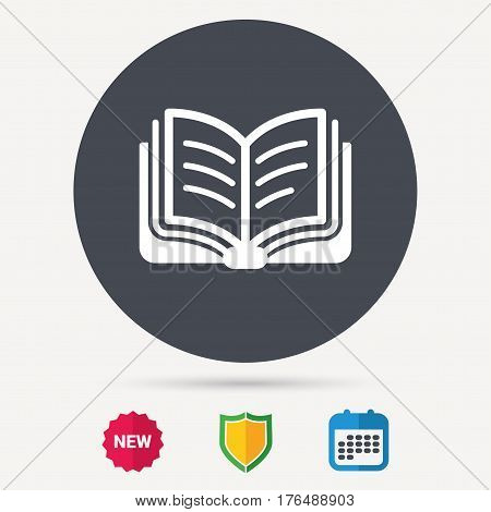 Book icon. Study literature sign. Education textbook symbol. Calendar, shield protection and new tag signs. Colored flat web icons. Vector
