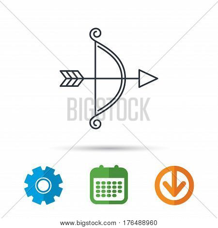 Bow with arrow icon. Valentine weapon sign. Calendar, cogwheel and download arrow signs. Colored flat web icons. Vector