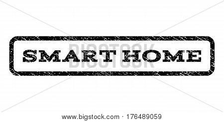 Smart Home watermark stamp. Text tag inside rounded rectangle with grunge design style. Rubber seal stamp with dirty texture. Vector black ink imprint on a white background.