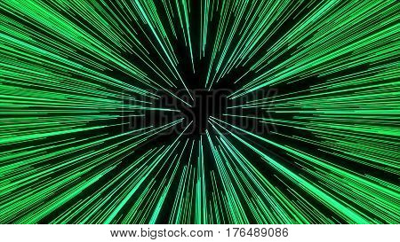 Abstract Of Warp Or Hyperspace Motion In Green Star Trail. Exploding And Expanding Movement
