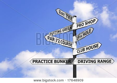 Concept image of a signpost with golf course information on the arrows.