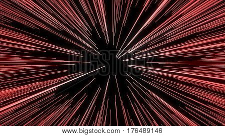 Abstract Of Warp Or Hyperspace Motion In Red Star Trail. Exploding And Expanding Movement