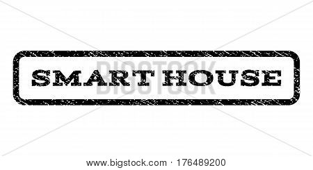 Smart House watermark stamp. Text tag inside rounded rectangle with grunge design style. Rubber seal stamp with dirty texture. Vector black ink imprint on a white background.
