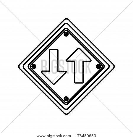 silhouette diamond shape frame two way traffic sign vector illustration