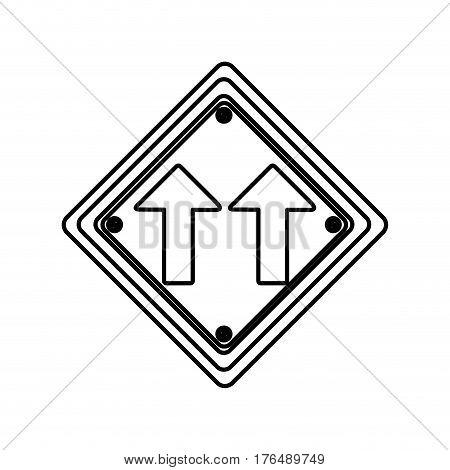 silhouette diamond shape frame same direction arrow road traffic sign vector illustration