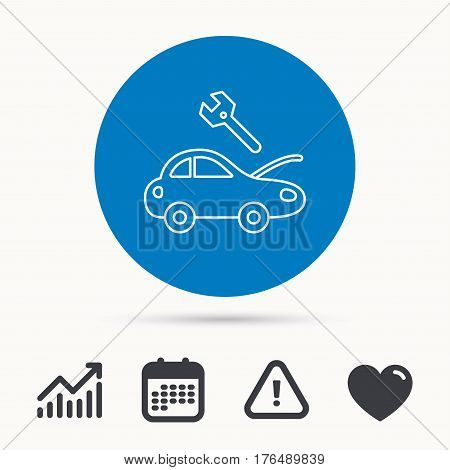 Car service icon. Transport repair with wrench key sign. Calendar, attention sign and growth chart. Button with web icon. Vector
