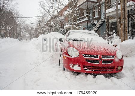Montreal CA - 15 March 2017: Powerful snow storm Stella pounds Montreal and leaves up to 60cm of snow.