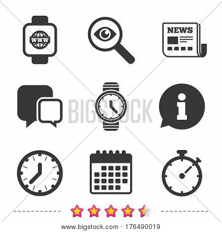 Smart watch with internet icons. Mechanical clock time, Stopwatch timer symbols. Wrist digital watch sign. Newspaper, information and calendar icons. Investigate magnifier, chat symbol. Vector