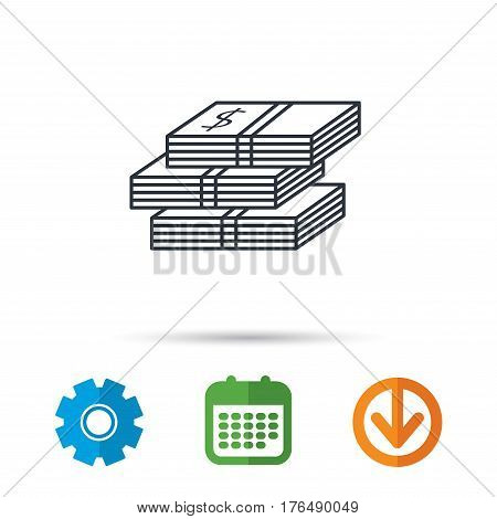 Cash icon. Dollar money sign. USD currency symbol. 3 wads of money. Calendar, cogwheel and download arrow signs. Colored flat web icons. Vector