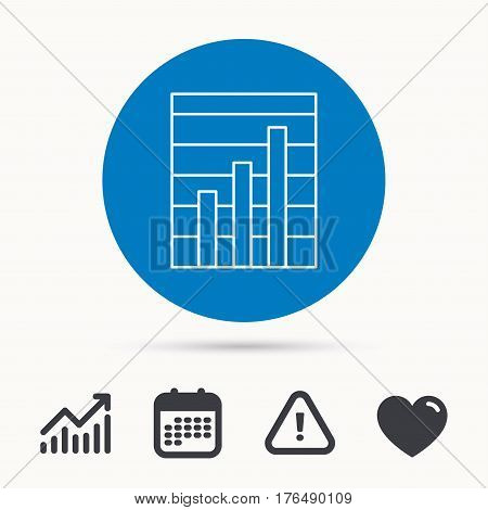 Chart icon. Graph diagram sign. Demand growth symbol. Calendar, attention sign and growth chart. Button with web icon. Vector