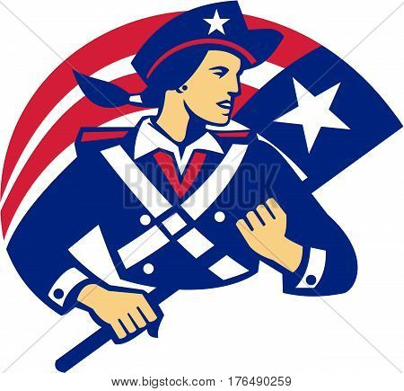 Illustration of a female american patriot minuteman looking to the side holding flag viewed from front set on isolated white background done in retro style.