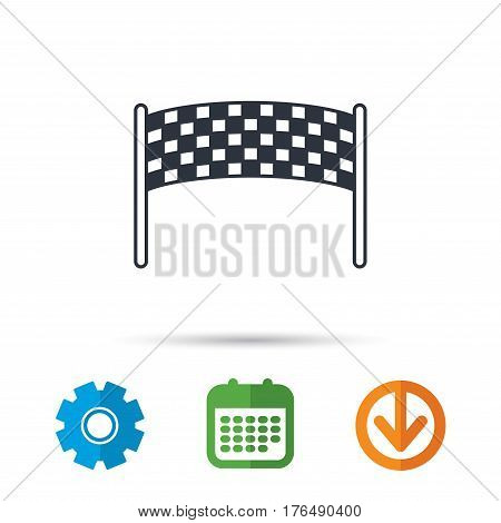 Finishing checkpoint icon. Marathon banner sign. Calendar, cogwheel and download arrow signs. Colored flat web icons. Vector
