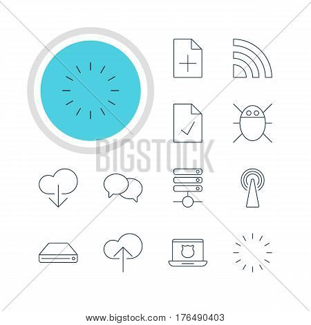 Vector Illustration Of 12 Internet Icons. Editable Pack Of Cloud Download, Waiting, Talking And Other Elements.