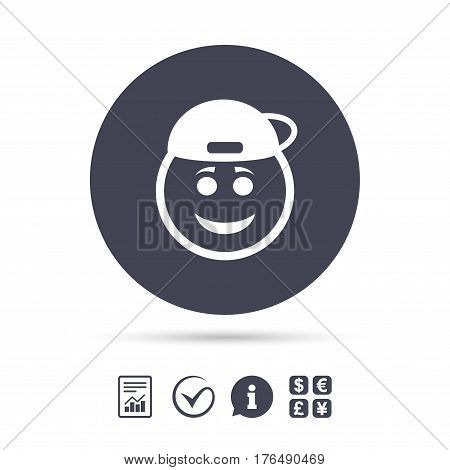 Smile rapper face sign icon. Happy smiley with hairstyle chat symbol. Report document, information and check tick icons. Currency exchange. Vector