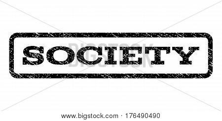 Society watermark stamp. Text caption inside rounded rectangle with grunge design style. Rubber seal stamp with unclean texture. Vector black ink imprint on a white background.