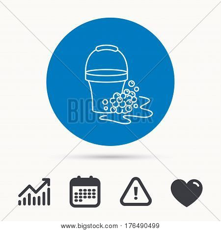Soapy cleaning icon. Bucket with foam and bubbles sign. Calendar, attention sign and growth chart. Button with web icon. Vector