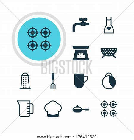Vector Illustration Of 12 Cooking Icons. Editable Pack Of Timekeeper, Sieve, Chef Hat And Other Elements.