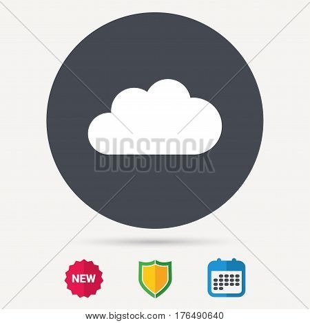 Cloud icon. Data storage technology symbol. Calendar, shield protection and new tag signs. Colored flat web icons. Vector