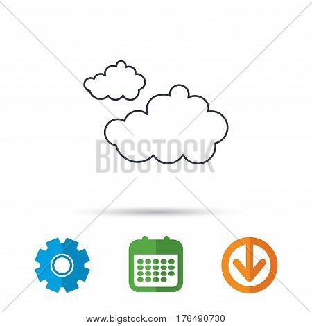 Cloudy icon. Overcast weather sign. Meteorology symbol. Calendar, cogwheel and download arrow signs. Colored flat web icons. Vector