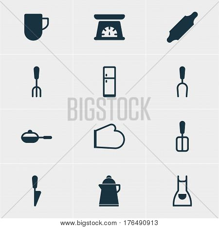 Vector Illustration Of 12 Kitchenware Icons. Editable Pack Of Bakery Roller, Kitchen Dagger, Barbecue Tool And Other Elements.