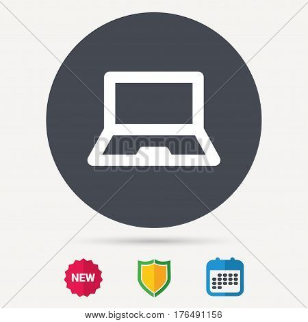 Computer icon. Notebook or laptop pc symbol. Calendar, shield protection and new tag signs. Colored flat web icons. Vector