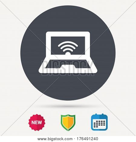 Computer with wifi icon. Notebook or laptop pc symbol. Calendar, shield protection and new tag signs. Colored flat web icons. Vector