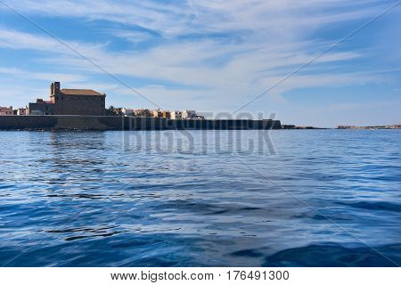 Island of Tabarca. Waterside view to the coast. Province of Alicante. Spain