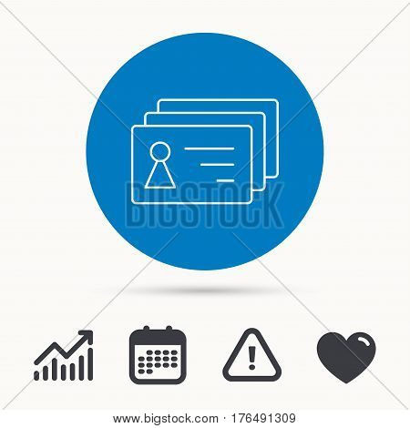 Contact cards icon. Identification badges sign. Identity holder symbol. Calendar, attention sign and growth chart. Button with web icon. Vector
