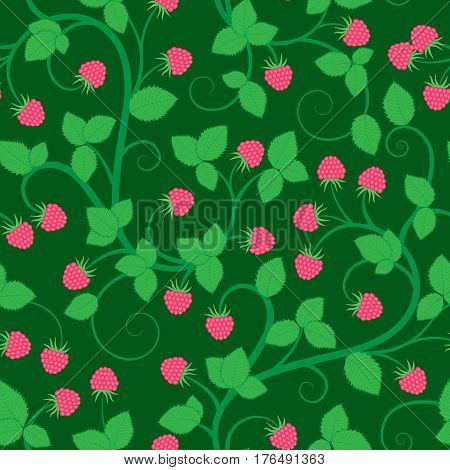 Seamless floral background with raspberry. Beautiful floral texture