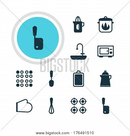 Vector Illustration Of 12 Kitchenware Icons. Editable Pack Of Furnace, Butcher Knife, Shaker And Other Elements.