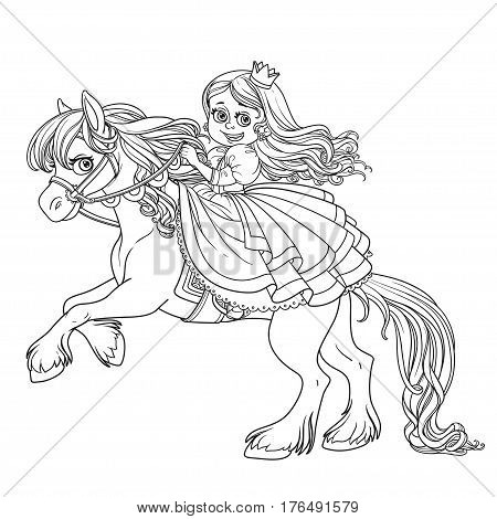 Cute Princess Riding On A Horse That Bucks Front Hooves Outlined