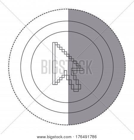 sticker silhouette circular frame with pixelated cursor arrow vector illustration