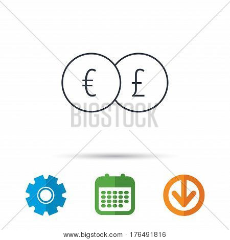 Currency exchange icon. Banking transfer sign. Euro to Pound symbol. Calendar, cogwheel and download arrow signs. Colored flat web icons. Vector