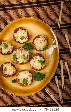 Stuffed Mushrooms with Breadcrumbs and Cheese. Selective focus.