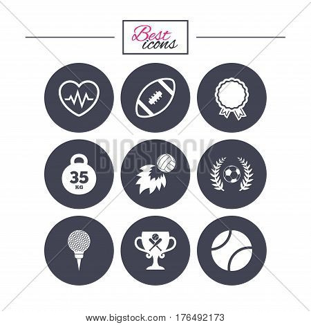 Sport games, fitness icons. Football, golf and baseball signs. Heartbeat, rugby and laurel wreath symbols. Classic simple flat icons. Vector