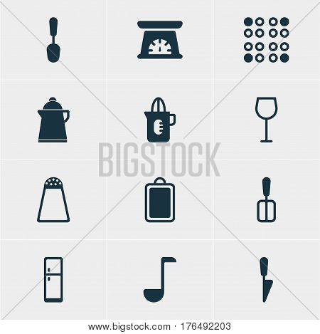 Vector Illustration Of 12 Restaurant Icons. Editable Pack Of Cooking Spade, Tablespoon, Wine And Other Elements.