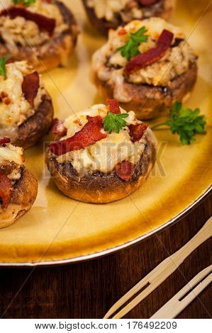 Stuffed Mushrooms with Breadcrumbs, Cheese and Bacon. Selective focus.