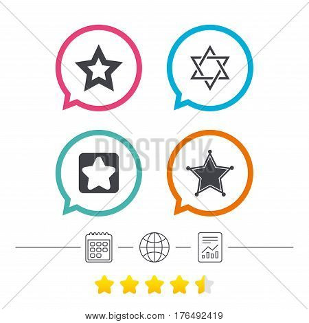 Star of David icons. Sheriff police sign. Symbol of Israel. Calendar, internet globe and report linear icons. Star vote ranking. Vector