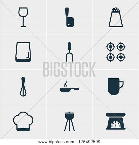Vector Illustration Of 12 Cooking Icons. Editable Pack Of Corolla, Barbecue, Wine And Other Elements.
