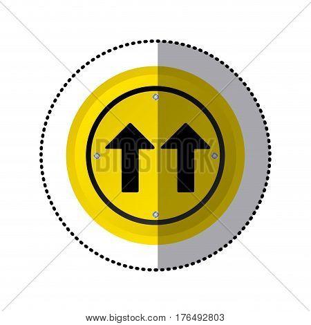 sticker yellow circular frame same direction arrow road traffic sign vector illustration