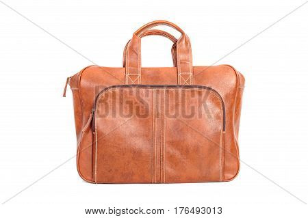 Brown leather messenger bag isolate on white background