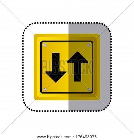 sticker yellow square shape frame two way traffic sign vector illustration
