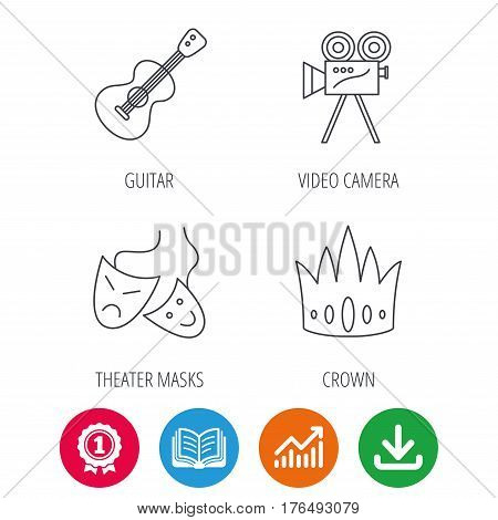 Crown, guitar music and theater masks icons. Video camera linear sign. Award medal, growth chart and opened book web icons. Download arrow. Vector