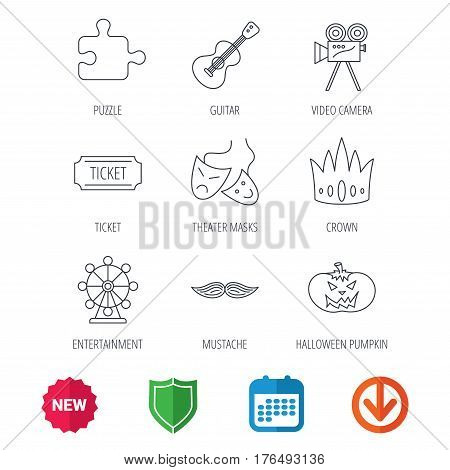 Puzzle, guitar music and theater masks icons. Ticket, video camera and crown linear signs. Entertainment, halloween pumpkin and mustache icons. New tag, shield and calendar web icons. Download arrow