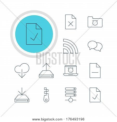 Vector Illustration Of 12 Web Icons. Editable Pack Of Data Upload, Checked Note, Privacy Doc And Other Elements.