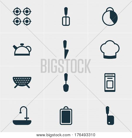 Vector Illustration Of 12 Cooking Icons. Editable Pack Of Cooking Spade, Tablespoon, Sieve And Other Elements.