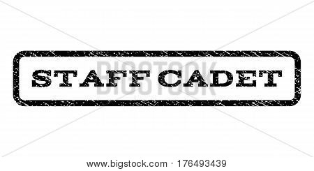 Staff Cadet watermark stamp. Text caption inside rounded rectangle with grunge design style. Rubber seal stamp with dust texture. Vector black ink imprint on a white background.