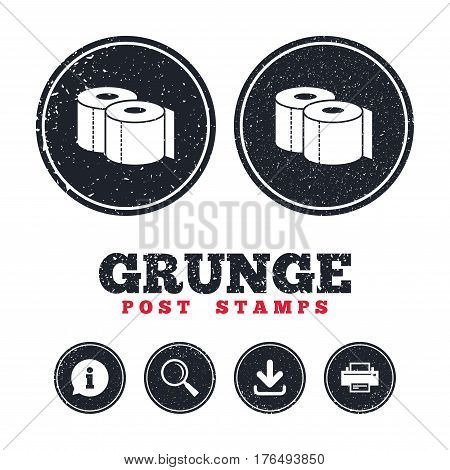 Grunge post stamps. Toilet papers sign icon. WC roll symbol. Information, download and printer signs. Aged texture web buttons. Vector